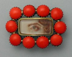 Georgian coral mourning eye miniature brooch.