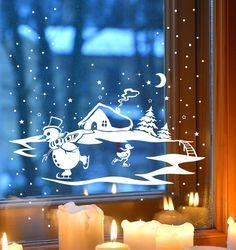 Fensterbild Winter Schneemann Schneeflocken 1703 von deinewandkunst auf DaWanda.com