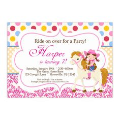Cowgirl Invitation - Pink Red Polka Dots and Damask Girl Cowgirl and Horse Personalized Birthday Party Invite - a Digital Printable File