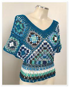 Crochet granny square top 60 Ideas for 2019 Crochet Jumper, Crochet Blouse, Knit Crochet, Granny Square Crochet Pattern, Crochet Granny, Crochet Patterns, Mode Crochet, Hippie Style Clothing, Hippie Crochet