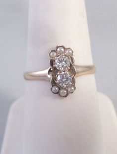 ANTIQUE Vintage 9K .30 CTW DIAMOND SEED PEARL RING Sz 7.25