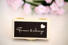 Forever & Always keepsake ring box.  Custom box, You choose the colors. Available at Little Wee Shop on Etsy