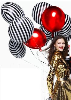 "Sale Set 6 BLACK & WHITE STRIPED Mylar Foil Balloons 18"" Glam Chic Kate Spade Inspired Bridal Shower Wedding Birthday Party Zebra Stripes by TheFulfilledShop on Etsy https://www.etsy.com/listing/289957865/sale-set-6-black-white-striped-mylar"