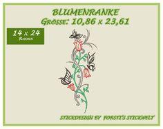 Stickmuster - Stickdatei / Stickmuster Blumen, Schmetterlinge - ein Designerstück von Forstis-Stickwelt bei DaWanda