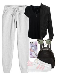 """""""05/04/17"""" by smirnova-varya ❤ liked on Polyvore featuring adidas, Alexander Wang, STELLA McCARTNEY, Ray-Ban, LE3NO and Pieces"""