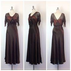 20S marrón satén & encaje vestido de Gasa por CheshireVintageShop