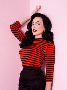 PRE-ORDER - Bad Girl Top 3/4 sleeve in Orange and Black Stripes - Vixen by Micheline Pitt