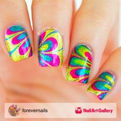 Rainbow Water Marble Nails by forevernails via Nail Art Gallery #nailartgallery #nailart #nails #glitter #polish #rainbow #tutorial #watermarble #watermarbling #naildesign #nailartist #nailartdesign