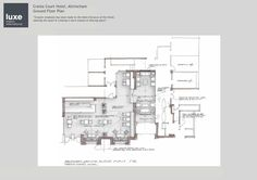 Blueprint of proposed reception Hotel Bedroom Design, Altrincham, Ground Floor Plan, Entrance, Reception, Floor Plans, Contemporary, How To Plan, Interior