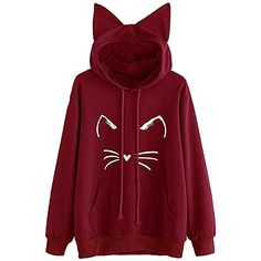 S-XXL Beautiful Thin Red Line Flag Long Sleeve Tops Blouse Womens Cat Ear Crop Top Pullover Hoodie