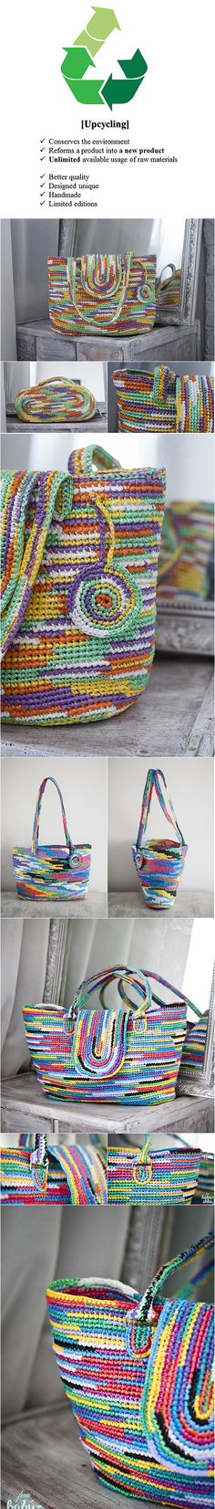 Upcycled crocheted bags made from plarn rainbow bag