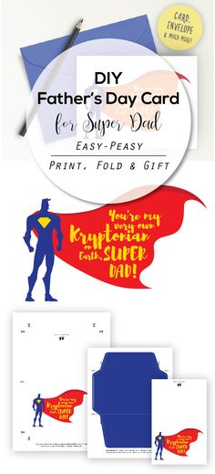 Super Dad Fathers Day Card Dad Birthday Card Superman Card For