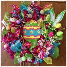 Easter Wreath Easter Egg Wreath Spring Wreath by PurplePetalDesign