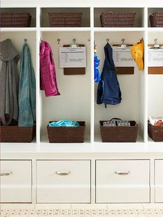 Individual Lockers Personal cubbies make it easy for the whole family to access and organize coats, bags, books, and shoes. Plus, they give young family members a sense of ownership that encourages them pick up after themselves. To get everyone on the same page about household chores, hang a weekly to-do checklist from a clipboard inside each cubby.
