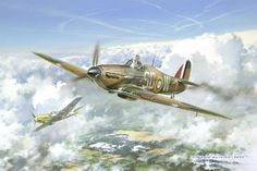 South African volunteer Flying Officer Nat Barry of No.501 Squadron in combat over South Darenth, Kent on 7th October 1940.  Buy it     Nathaniel Barry was born in Franschoek, South Africa. In 1938 he began studying at Pembroke College, Cambridge where he joined the University Air Squadron. He later transferred to the RAFVR.  In 1940, Flying Officer Barry was ADC to Air Vice-Marshal de Crespigny, but as the Battle of Britain raged he insisted on a posting to a front line fighter squadron.