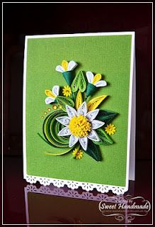 yellow, white and green Origami And Quilling, Quilling Paper Craft, Paper Crafts, Quilling Patterns, Quilling Designs, Quilling Ideas, Quilling Birthday Cards, Quilled Creations, Paper Bouquet