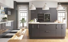 Cut Price Kitchens Euro Grey Gloss Kitchen. Stylish and modern door design. Wrapped in high gloss dark grey pvc. Contrasting white cabinet as standard. Fully matching pvc panels available. Curved units, bifold cupboards and double pan drawers available. Comprising of 18mm thick carcases, soft-close hinges and benefits from 330mm deep wall cabinets. www.cutpricekitchens.co.uk Kitchen Cabinets Models, European Kitchen Cabinets, Kitchen Cabinet Styles, Wall Cabinets, Small Modern Kitchens, Grey Kitchens, Modern Kitchen Design, Kitchen Designs, Kitchen Ideas