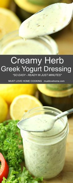 Creamy Herb Greek Yogurt Dressing is tasty smooth and ready in just minutes. This combination of yogurt herbs garlic and a few other ingredients is the perfect way to dress up a favorite salad or veggie tray. Greek Yogurt Salad Dressing, Yogurt Salad Dressings, Salad Dressing Recipes, Greek Dressing Recipe Creamy, Dressing For Salad, Mediterranean Salad Dressing, Herb Dressing Recipe, Greek Yogurt Recipes, Greek Yoghurt