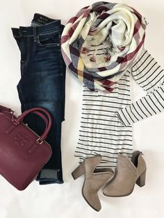 casual fall outfit striped tee plaid blanket scarf