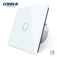 Livolo estándar de la ue interruptor de pared interruptor de control de 2 vías, Panel de Vidrio de cristal, Interruptor de la Pantalla Táctil de Luz de pared, VL-C701S-1/2/3/5