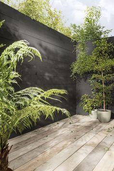 Inexpensive Black Fence Ideas For Garden Design 21 Backyard Fences, Garden Fencing, Backyard Landscaping, Landscaping Ideas, Garden Gate, Bamboo Fencing, Small Gardens, Outdoor Gardens, Exterior House Siding