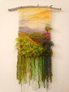 My first weave Me: try wet felting like this Weaving Textiles, Weaving Art, Weaving Patterns, Tapestry Weaving, Loom Weaving, Yarn Crafts, Sewing Crafts, Weaving Wall Hanging, Textile Fiber Art