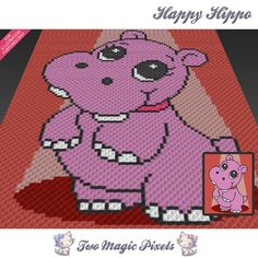 Happy Hippo c2c graph crochet pattern instant by TwoMagicPixels