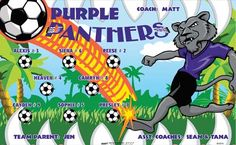 Purple Panthers B53076  digitally printed vinyl soccer sports team banner. Made in the USA and shipped fast by BannersUSA.  You can easily create a similar banner using our Live Designer where you can manipulate ALL of the elements of ANY template.  You can change colors, add/change/remove text and graphics and resize the elements of your design, making it completely your own creation.