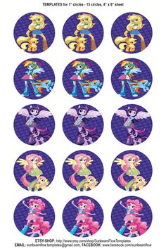 "My little pony Equestria Girls inspired, 1"" circle image, digital download, 30 images on Etsy, $2.25"