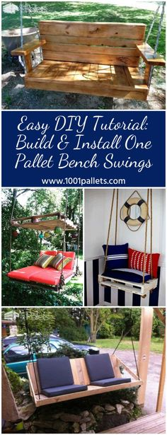 #Garden, #Outdoors, #PalletSwing, #Patio, #Porch, #RecyclingWoodPallets Add a touch of nostalgia without a lot of drama when you make your own version of our DIY One Pallet Bench Swings! Create a beautiful area to enjoy the outdoors, your patio, or garden area, or as amazing party decor! And, you only need one pallet
