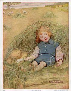 Vintage 1915 Nursery Rhyme Illustration, Print for Framing, Little Boy Blue, M L Kirk