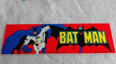 batman logo bumper sticker  vintage red by Edvintagecollectible