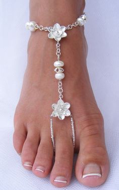 Silver Flower & Pearl Barefoot Sandals – Sterling Silver and Freshwater Pearls barefoot sandal Bare Foot Sandals, Silver Flowers, Toe Rings, Ankle Bracelets, Body Jewelry, Feet Jewelry, Beach Jewelry, Anklets, Wedding Shoes