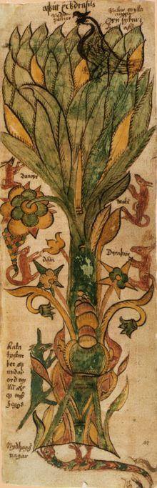Darstellung der Weltenesche Yggdrasil mit den verschiedenen Tieren, die in und bei ihr leben, in einer isländischen Handschrift des 17. Jahrhunderts.