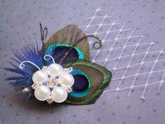 Bridal Peacock Fascinator, Peacock, Feather Hair Piece, Wedding Hair Accessories, peacock feather hair clip - DOUBLE PRETTY PEACOCK. $36.00, via Etsy.