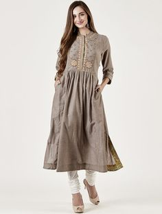 Buy Muted Pista Embroidered Kalidar Set by Dhruv Singh Available at Ogaan Online Shop Pakistani Formal Dresses, Indian Dresses, Indian Outfits, Salwar Designs, Blouse Designs, Frock Fashion, Fashion Dresses, Kurti Embroidery Design, Chic Dress