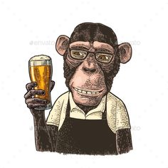 Buy Monkeys Dressed in Apron Holding Glass of Beer by MoreVector on GraphicRiver. Monkeys fast food worker dressed in apron holding glass of beer. Isolated on wh. Fast Food Logos, Fast Food Workers, Acrylic Painting Tips, Engraving Illustration, Food Drawing, Vintage Colors, Portfolio Design, Designs To Draw, Royalty Free Photos