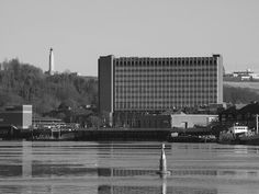 The Pentagon building and Chatham waterfront from Rochester riverside walk [shared]