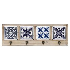 Stratton Home Decor Blue and White Accent Tile Coat Rack, Black/ natural wood Wood Wall Shelf, Wood Shelves, Wall Hooks, Mediterranean Tile, Tile Crafts, Tile Projects, Wall Mounted Coat Rack, Coat Hooks, White Tiles