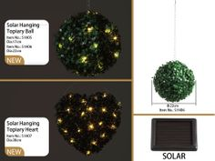Solar Hanging Topiary Ball/Heart