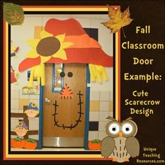 I love this cheerful scarecrow classroom door design that is perfect for Fall and Thanksgiving themes.