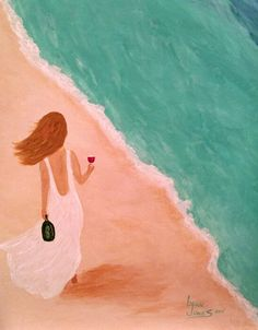 "Canvas & Vino painting ""Walking the Beach"" (wine version ;)  May 2015"