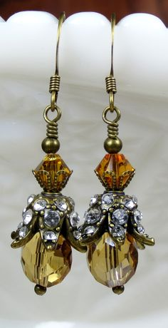 Stunning Topaz Crystal and Sparkly Rhinestone Beaded Dangle Earrings, November Birthstone Jewelry. Makes A Perfect Gift Or as something special for yourself. Buy your pair today!