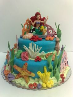 little mermaid cake!    Had at least 6 little mermaid themed birthday parties and never got a cake as cool as this!