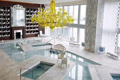 Ugly chandelier, but otherwise who wouldn't wanted this in their home! - The Spa at the Viceroy Miami Hotel  Miami, Fla.