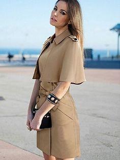 Fashion Bodycon Detachable Cape Coat