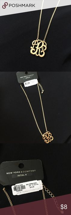"""New York & Company Gold Initial Necklace """"R"""" New York & Company Gold Played initial necklace.  The letter """"R"""" Brand new and never worn.  16"""" plus an extender with a cute cz stone on the end.  Hot for fall! New York & Company Jewelry Necklaces"""