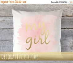 """SALE 10% OFF Thru 6/25 Pillow Cover 16"""" x 16"""" - My Girl  - Faux Gold Metallic on Pale Coral/Blush/Pink watercolor by GRACEandCRUZ on Etsy https://www.etsy.com/listing/286696471/sale-10-off-thru-625-pillow-cover-16-x"""