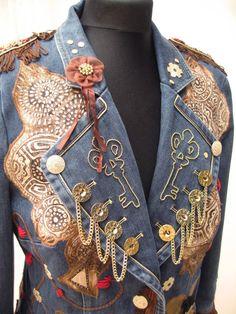 Steampunk inspired denim jacket Denim reworked