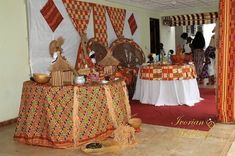 African Wedding Theme, African Print Wedding Dress, Wedding Hall Decorations, Engagement Decorations, Wedding Wall, Wedding Set Up, Traditional Wedding Decor, Muriel, Wedding Planer